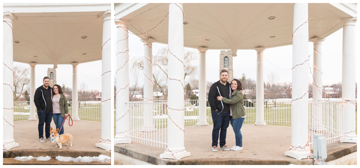 Engaged Couple with Disney Themed Frederick Maryland Engagement Photos under gazebo