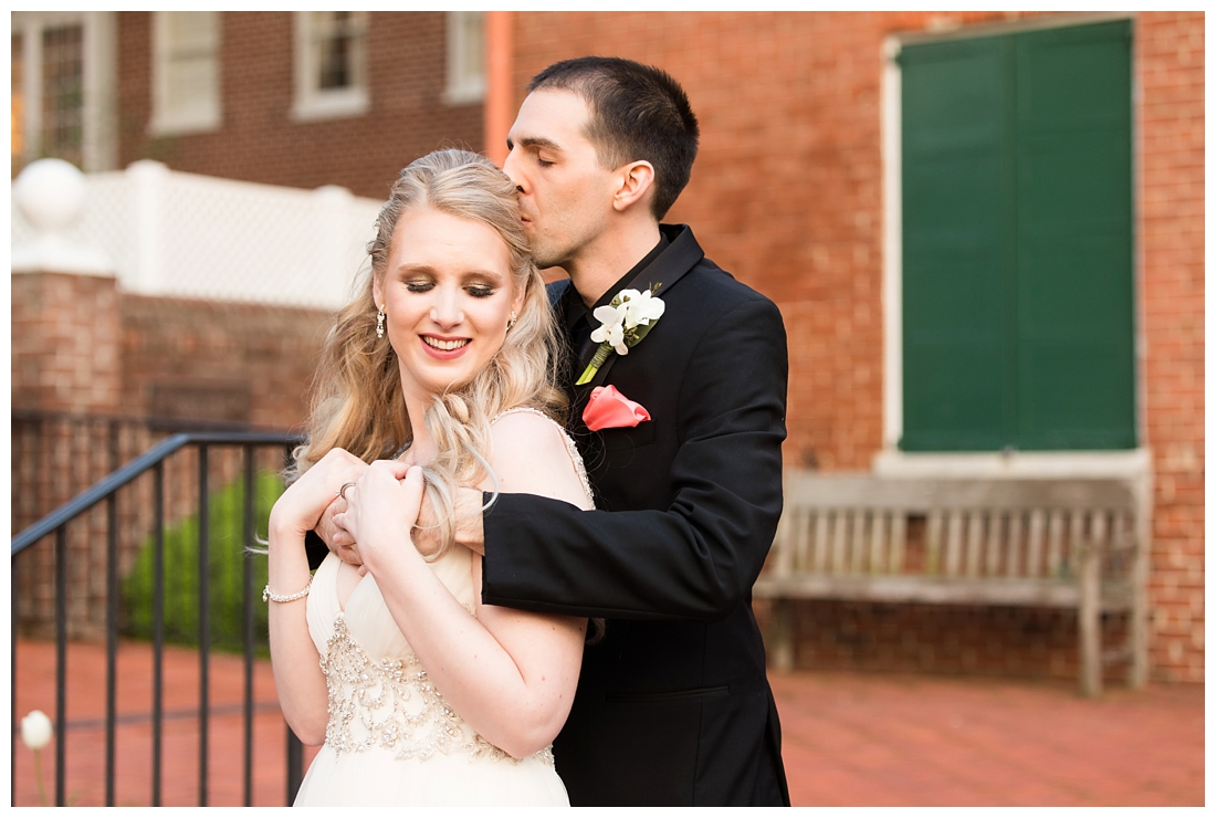 Maryland Wedding Photos. 1840s plaza Baltimore Maryland. Spring Wedding. Co-ed wedding party. ballroom dancing bio queen. blue and pink wedding colors. Valerie Michelle Photography.