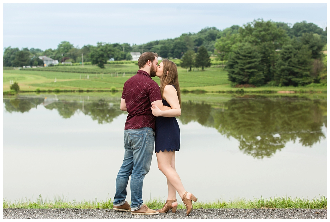Woodbine Maryland Larriland Farm Engagement Photos. Baltimore Maryland Wedding photos. Pond engagement photos. Engagement photos by the water