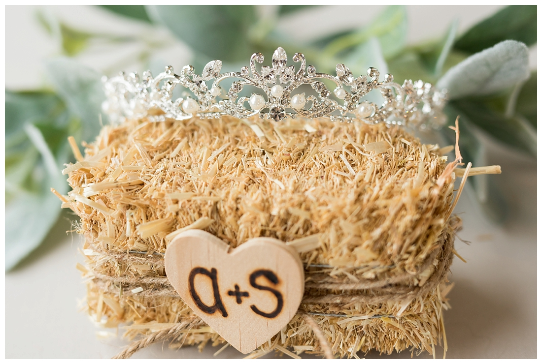 Bridal wedding details. Brides tiara with bling and pearls. Maryland wedding at Circle D Farm in Woodbine. Maryland Wedding Photographer