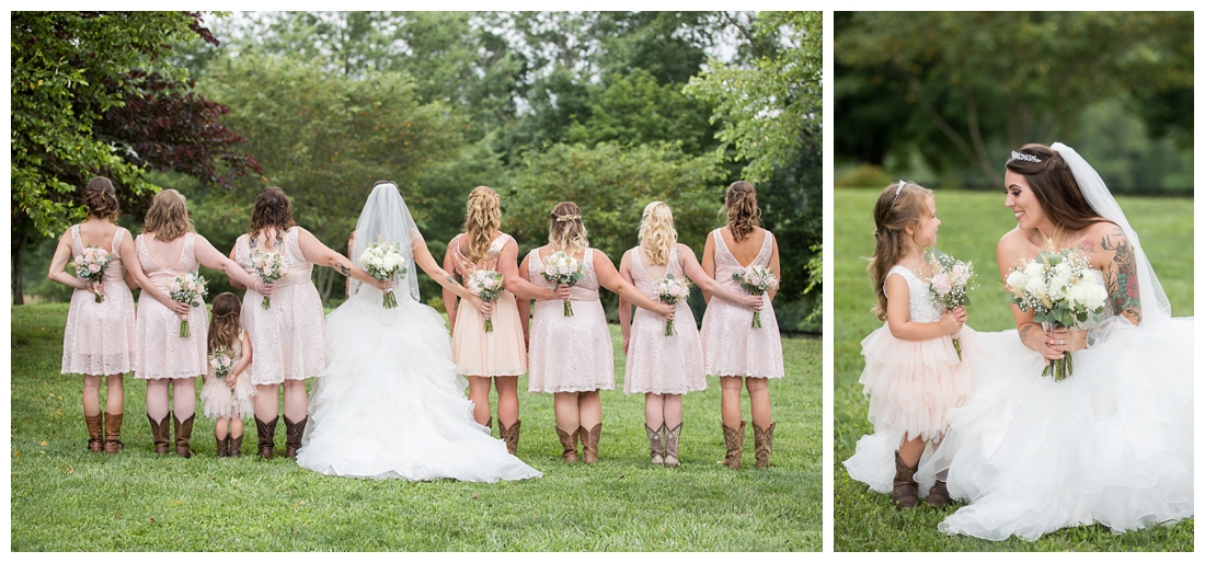 Flower girl with the bride. Bridal party posing in dusty rose bridesmaid dresses and rose bouquets. Bridesman with bouquet. Maryland wedding at Circle D Farm in Woodbine. Maryland Wedding Photographer