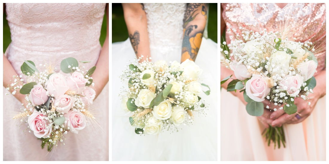 Bride and bridesmaids holding bouquets. White rose and greenery with wheat. Pink roses with baby's breath. Maryland wedding at Circle D Farm in Woodbine. Maryland Wedding Photographer