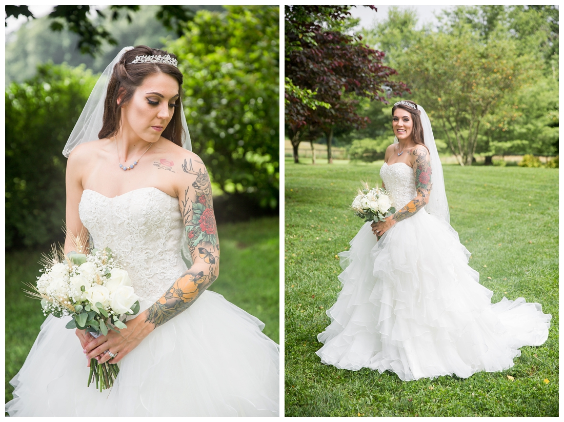 Bridal portrait. Bride with long train, veil, tiara and white rose bouquet. Maryland wedding at Circle D Farm in Woodbine. Maryland Wedding Photographer