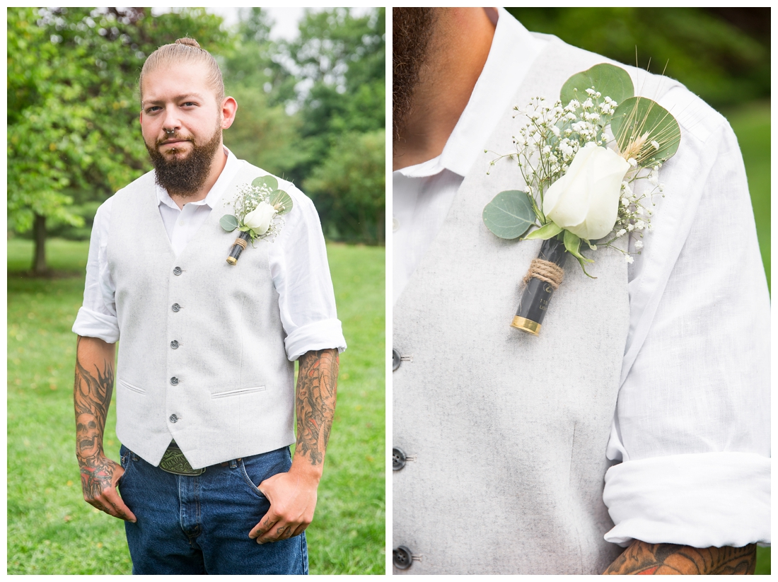 Groom Portraits. Groom in blue jeans with brown vest. White rose boutonnière in a shotgun shell. Maryland wedding at Circle D Farm in Woodbine. Maryland Wedding Photographer