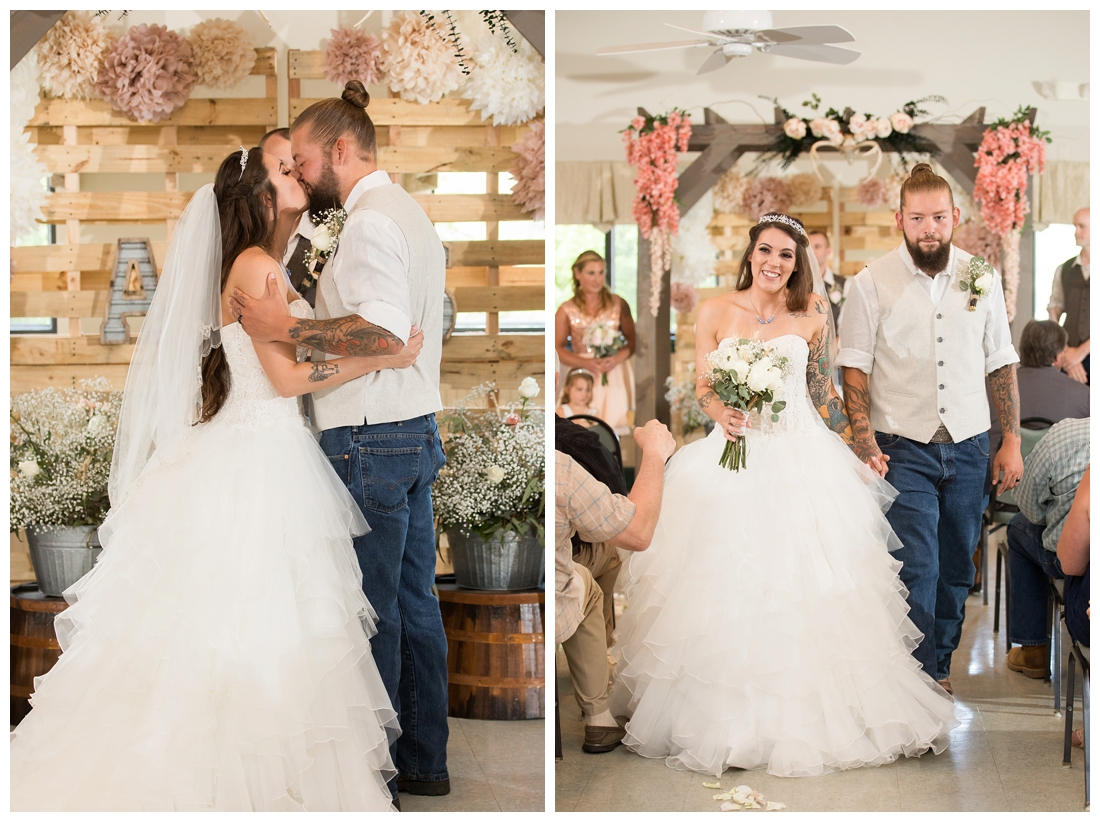 Bride and Groom's first kiss. Bride and groom walking up the aisle. Indoor wedding ceremony. Rustic Wedding Decor. Rose Gold wedding decor. Wooden arbor with flowers. Maryland wedding at Circle D Farm in Woodbine. Maryland Wedding Photographer.