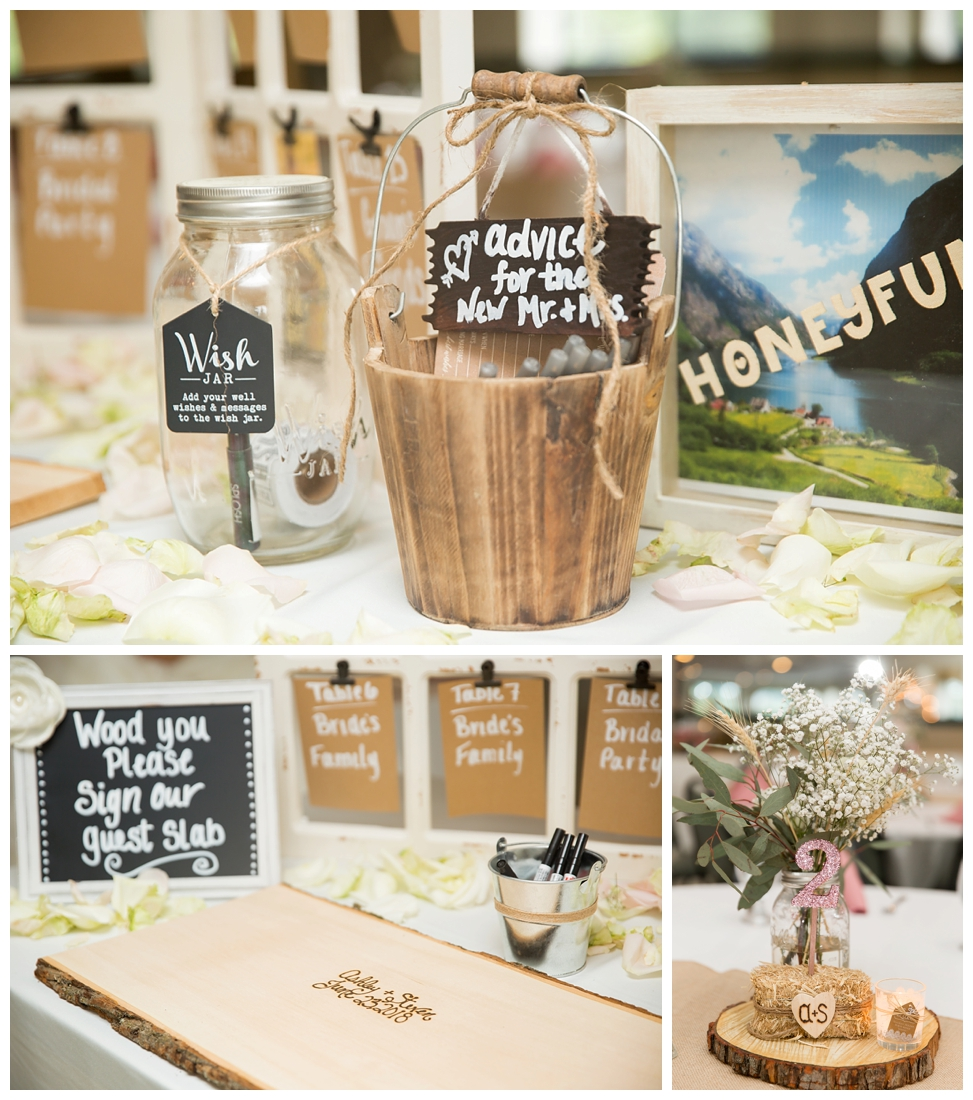 Reception details and decor. Rustic wedding decor. Rose gold wedding decor. Advice for bride and groom. Wedding seating chart Maryland wedding at Circle D Farm in Woodbine. Maryland Wedding Photographer.