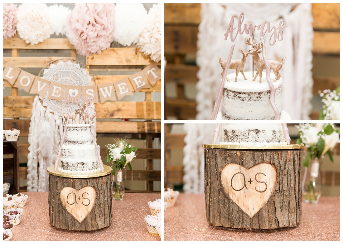 Reception details and decor. Rustic wedding decor. Rose gold wedding decor. Cake table with naked cake and deer wedding topper. Harry potter themed wedding cake. Tree stump wedding cake holder. rustic wedding cake. Maryland wedding at Circle D Farm in Woodbine. Maryland Wedding Photographer.
