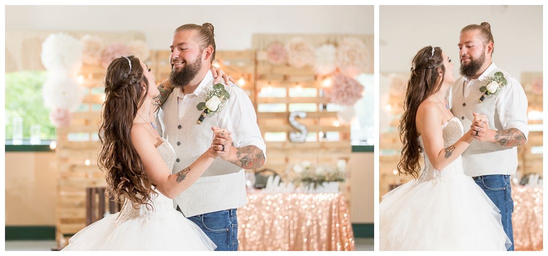 Bride and Groom's first dance. Reception details and decor. Rustic wedding decor. Rose gold wedding decor. Maryland wedding at Circle D Farm in Woodbine. Maryland Wedding Photographer.