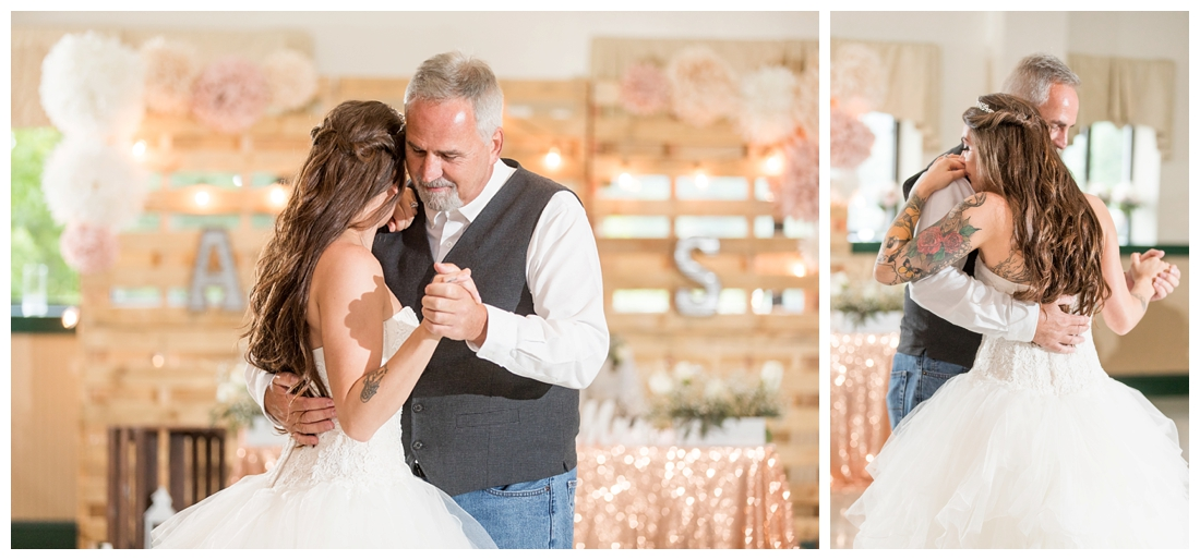 Father Daughter Dance. Reception details and decor. Rustic wedding decor. Rose gold wedding decor. Maryland wedding at Circle D Farm in Woodbine. Maryland Wedding Photographer.
