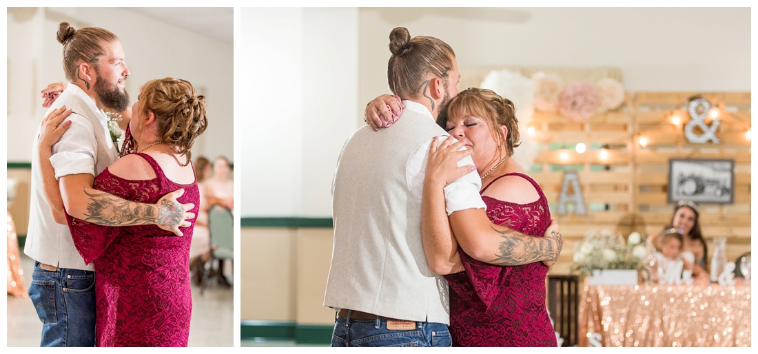 Mother Son dance. Reception details and decor. Rustic wedding decor. Rose gold wedding decor. Maryland wedding at Circle D Farm in Woodbine. Maryland Wedding Photographer.