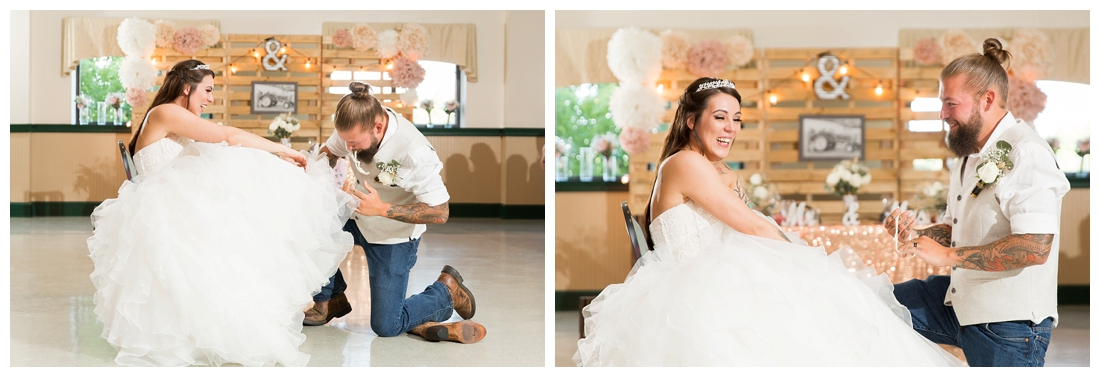Groom taking the garter off the bride. Reception details and decor. Rustic wedding decor. Rose gold wedding decor. Maryland wedding at Circle D Farm in Woodbine. Maryland Wedding Photographer.