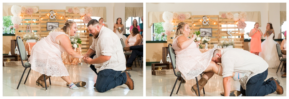 Wedding guests whom caught the bouquet and garter. Man puts garter on woman. Reception details and decor. Rustic wedding decor. Rose gold wedding decor. Maryland wedding at Circle D Farm in Woodbine. Maryland Wedding Photographer.