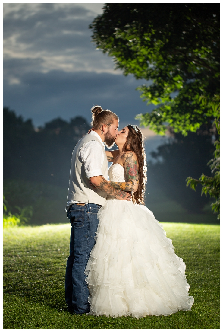 Wedding night photo on a farm. Night photo with groom dancing with the bride. sunset photos. Reception details and decor. Rustic wedding decor. Rose gold wedding decor. Maryland wedding at Circle D Farm in Woodbine. Maryland Wedding Photographer.