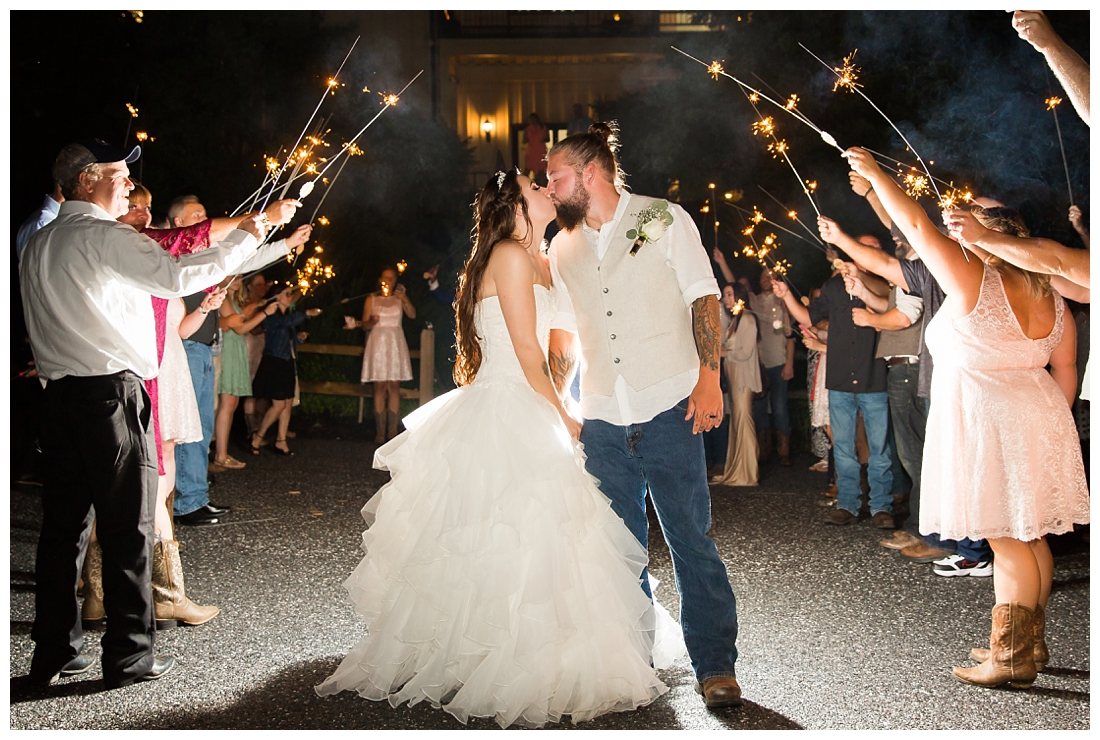 Sparkler send off at the end of the wedding. Bride and groom kissing under sparklers. Wedding night photo on a farm. Reception details and decor. Rustic wedding decor. Rose gold wedding decor. Maryland wedding at Circle D Farm in Woodbine. Maryland Wedding Photographer.