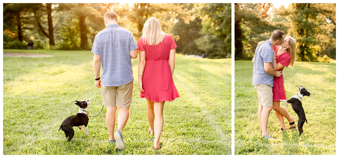 Columbia Maryland Couple's Centennial Park Engagement Photos with their dog Harvey