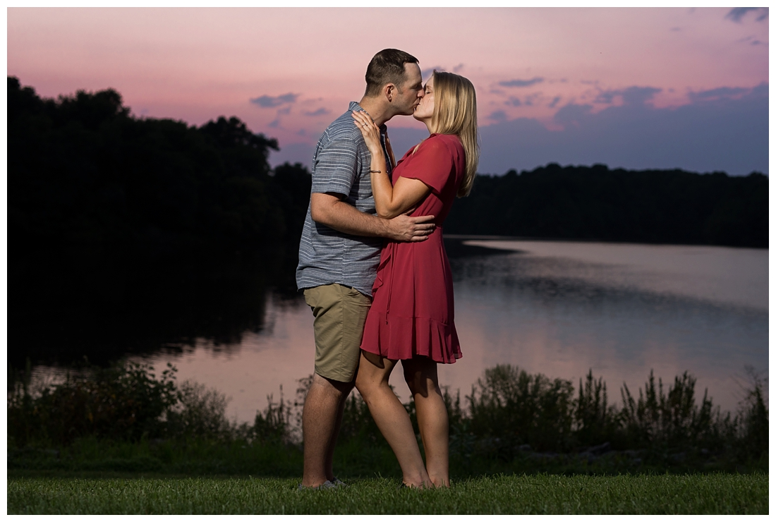 Columbia Maryland Couple's Centennial Park Engagement Photos with their dog Harvey. Sunset Engagement Photo
