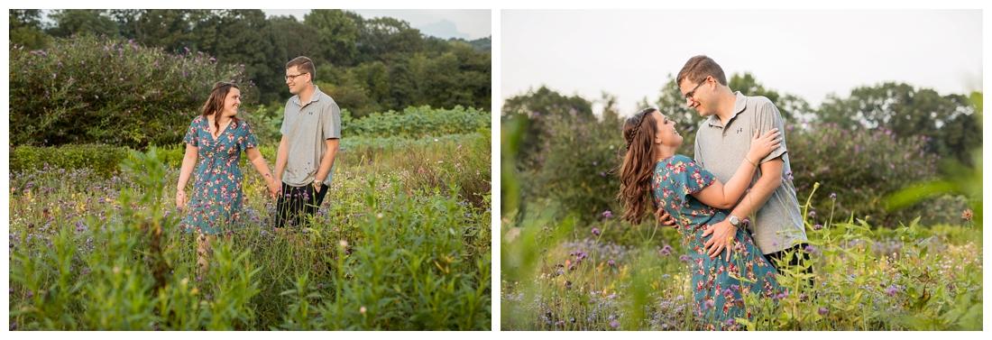 Maryland Wedding Photography Sunflower engagement photos. Maryland engagement. Bride and groom to be in flower fields. Flower fields maryland farm engagement photos.