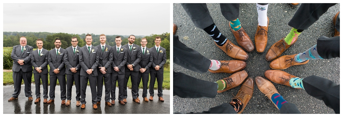 Towson Maryland Catholic Church Ceremony. Joppa Maryland Mountain Branch Golf Club Wedding. The Belvedere bridal wedding preparation. Groomsmen portraits and socks