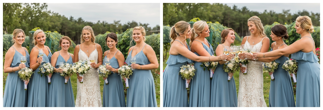 Winery at Bull Run Virginia Wedding. Bride and Groom married ar ruins in vineyards. Dusty Blue and Navy Wedding. bridesmaid portraits
