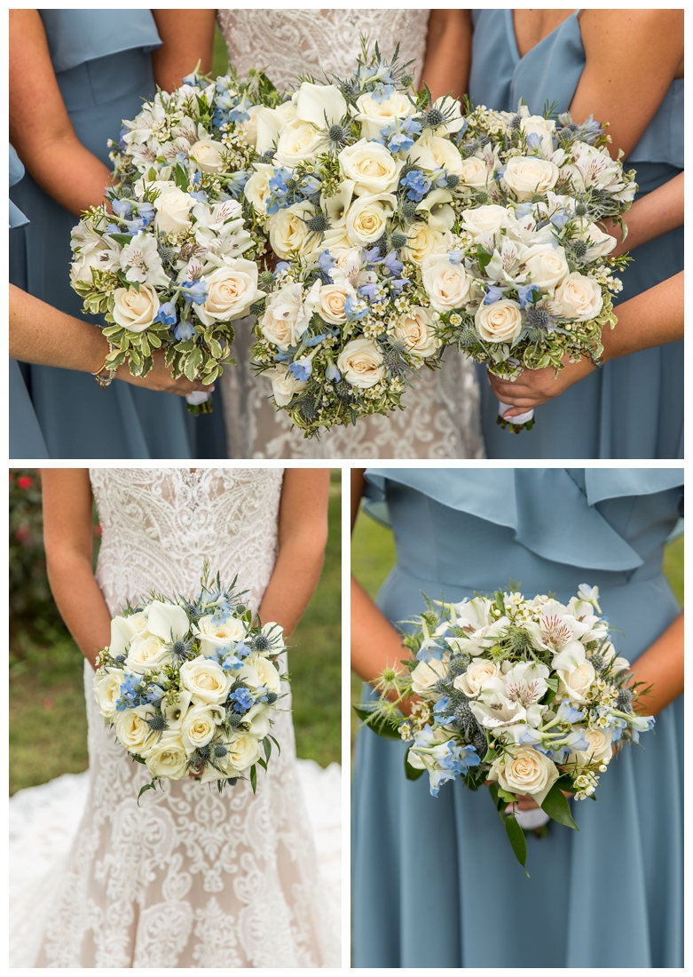 Winery at Bull Run Virginia Wedding. Bride and Groom married ar ruins in vineyards. Dusty Blue and Navy Wedding. bride and bridesmaid flowers bouquets