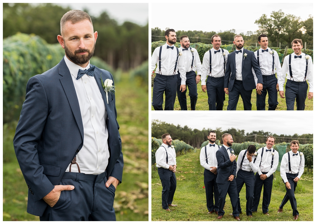 Winery at Bull Run Virginia Wedding. Bride and Groom married ar ruins in vineyards. Dusty Blue and Navy Wedding. groomsmen portraits