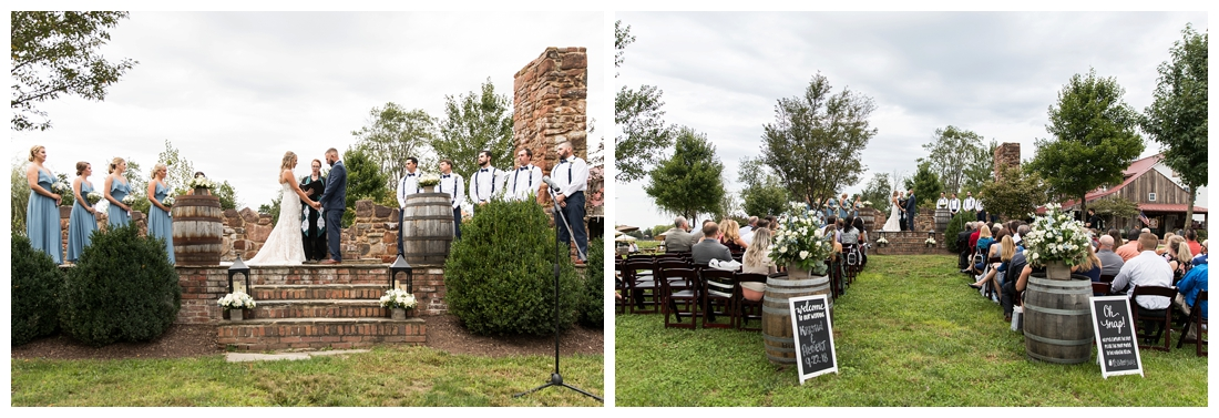 Winery at Bull Run Virginia Wedding. Bride and Groom married ar ruins in vineyards. Dusty Blue and Navy Wedding. wedding ceremony on the ruins