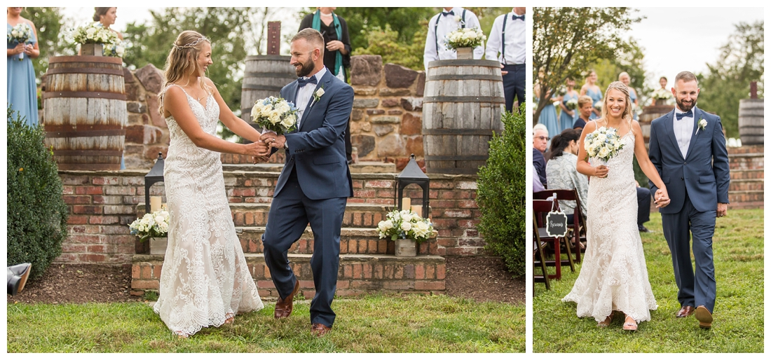 Winery at Bull Run Virginia Wedding. Bride and Groom married ar ruins in vineyards. Dusty Blue and Navy Wedding. Bride and groom recessional