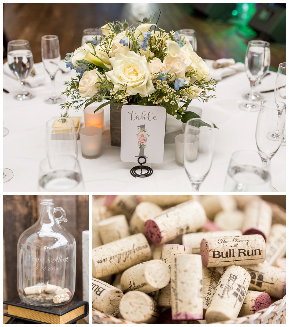Winery at Bull Run Virginia Wedding. Bride and Groom married ar ruins in vineyards. Dusty Blue and Navy Wedding. Wine cork guest book. Sign a cork