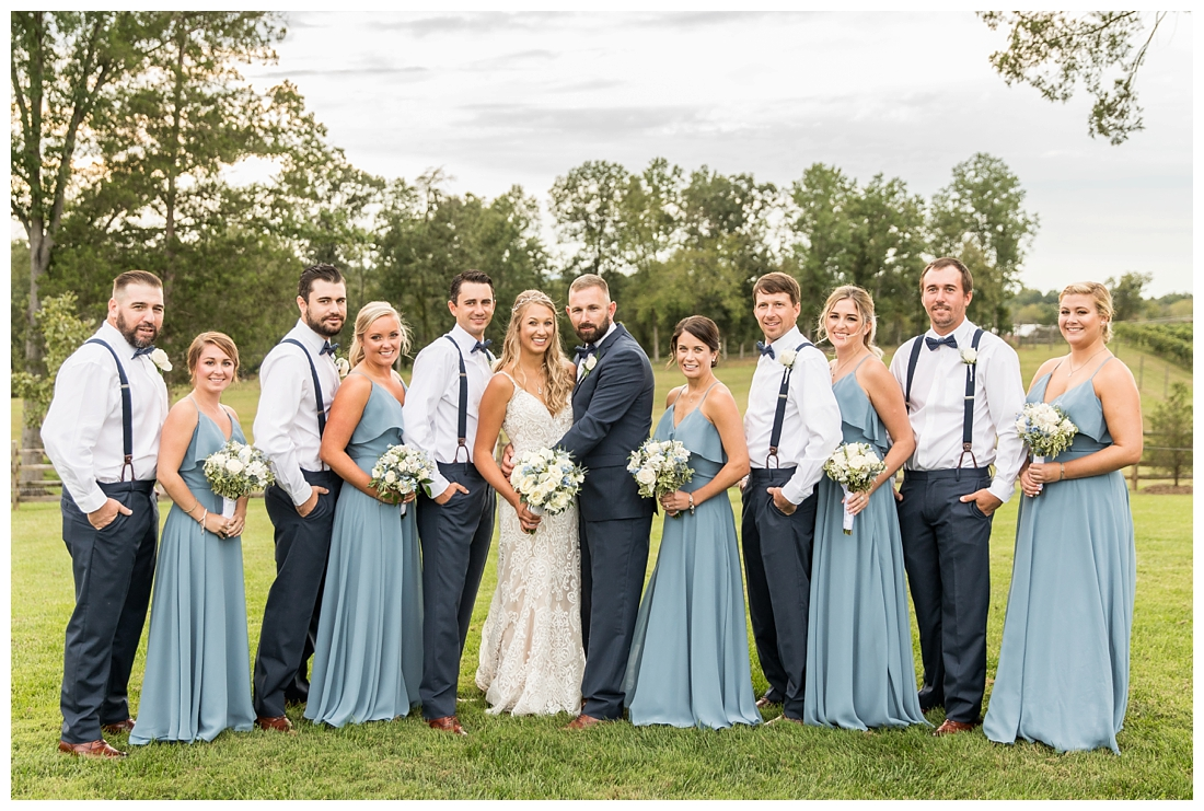 Winery at Bull Run Virginia Wedding. Bride and Groom married ar ruins in vineyards. Dusty Blue and Navy Wedding. Bridal party portraits
