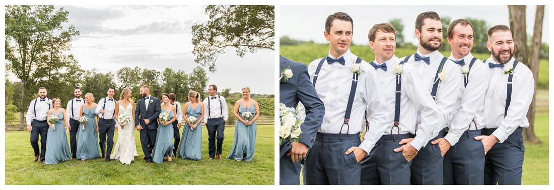 Winery at Bull Run Virginia Wedding. Bride and Groom married ar ruins in vineyards. Dusty Blue and Navy Wedding. Bridal party photos. Dusty blue dress. walking bridal party