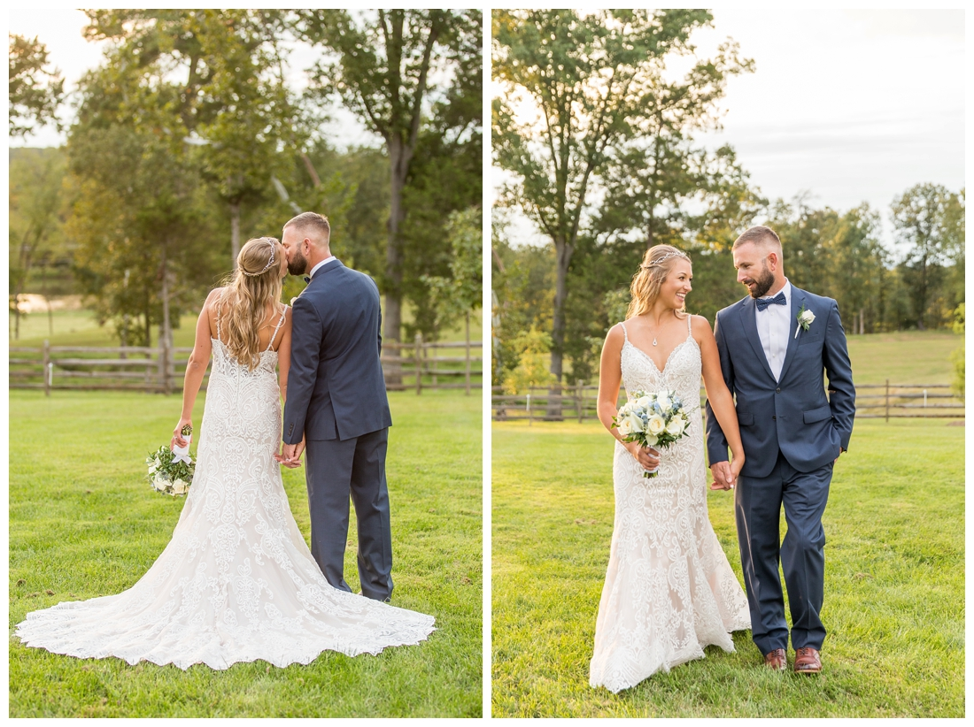 Winery at Bull Run Virginia Wedding. Bride and Groom married ar ruins in vineyards. Dusty Blue and Navy Wedding. Bride and Groom just married wedding bridal portraits
