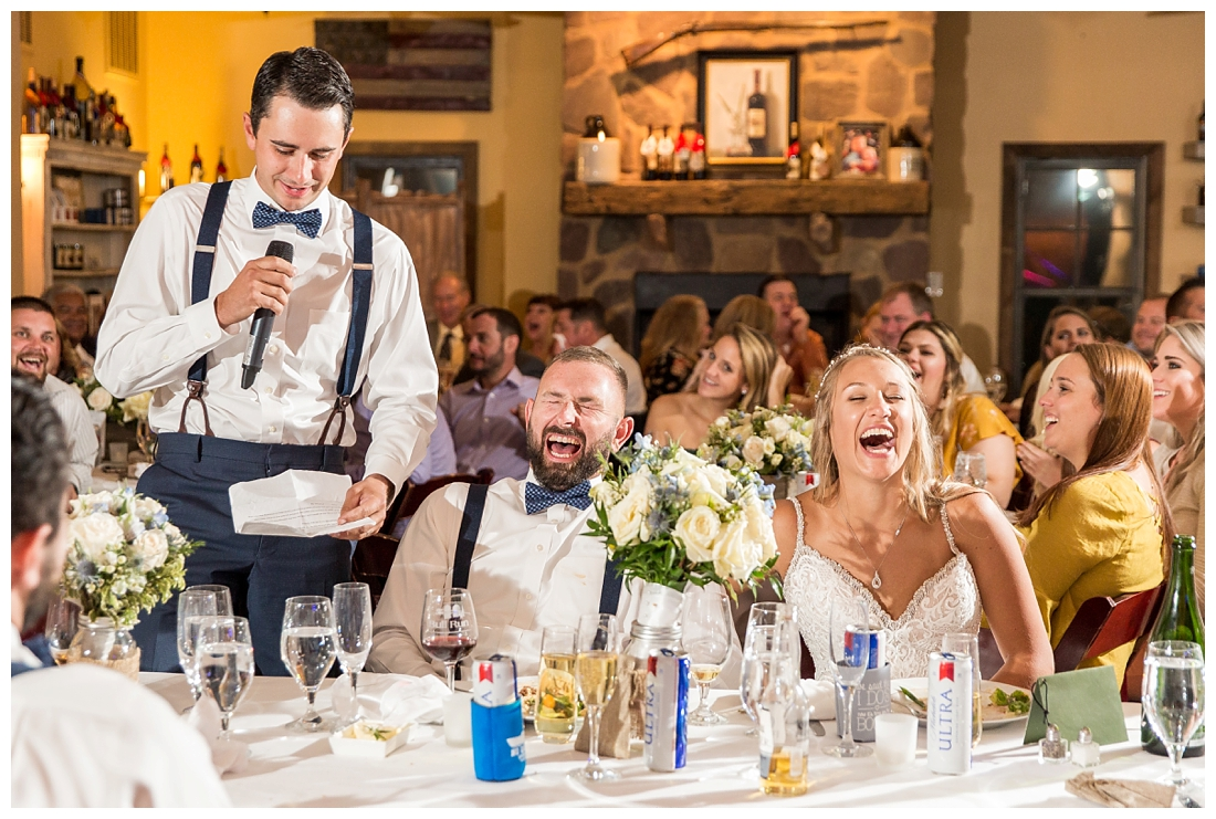 Winery at Bull Run Virginia Wedding. Bride and Groom married ar ruins in vineyards. Dusty Blue and Navy Wedding. Best man toast bride and groom laughing