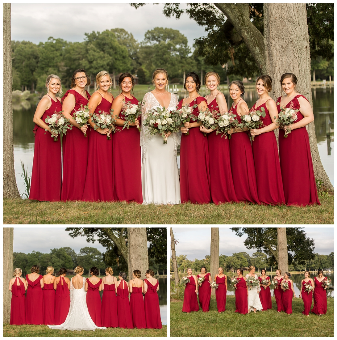 Eastern Shore Wedding. Water Front Wedding. Maryland Wedding. Queenstown Maryland. Fall October Wedding. Burgundy and Navy wedding colors. Maryland Wedding Photographer, Annapolis Wedding Photographer. Wedding at private residence, wedding at our home, tent wedding. Bridesmaid portraits