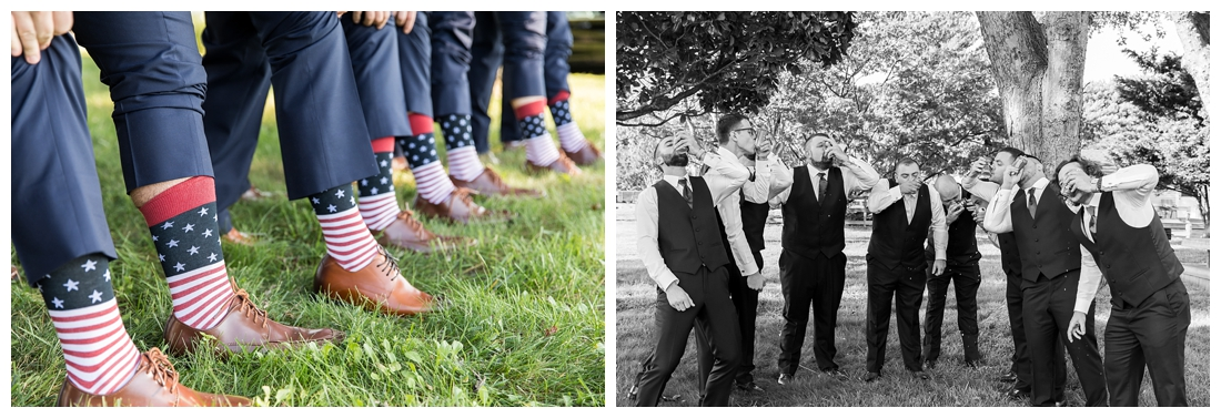 Eastern Shore Wedding. Water Front Wedding. Maryland Wedding. Queenstown Maryland. Fall October Wedding. Burgundy and Navy wedding colors. Maryland Wedding Photographer, Annapolis Wedding Photographer. Wedding at private residence, wedding at our home, tent wedding. Groomsmen portraits, matching socks, american flag socks, blue suits.
