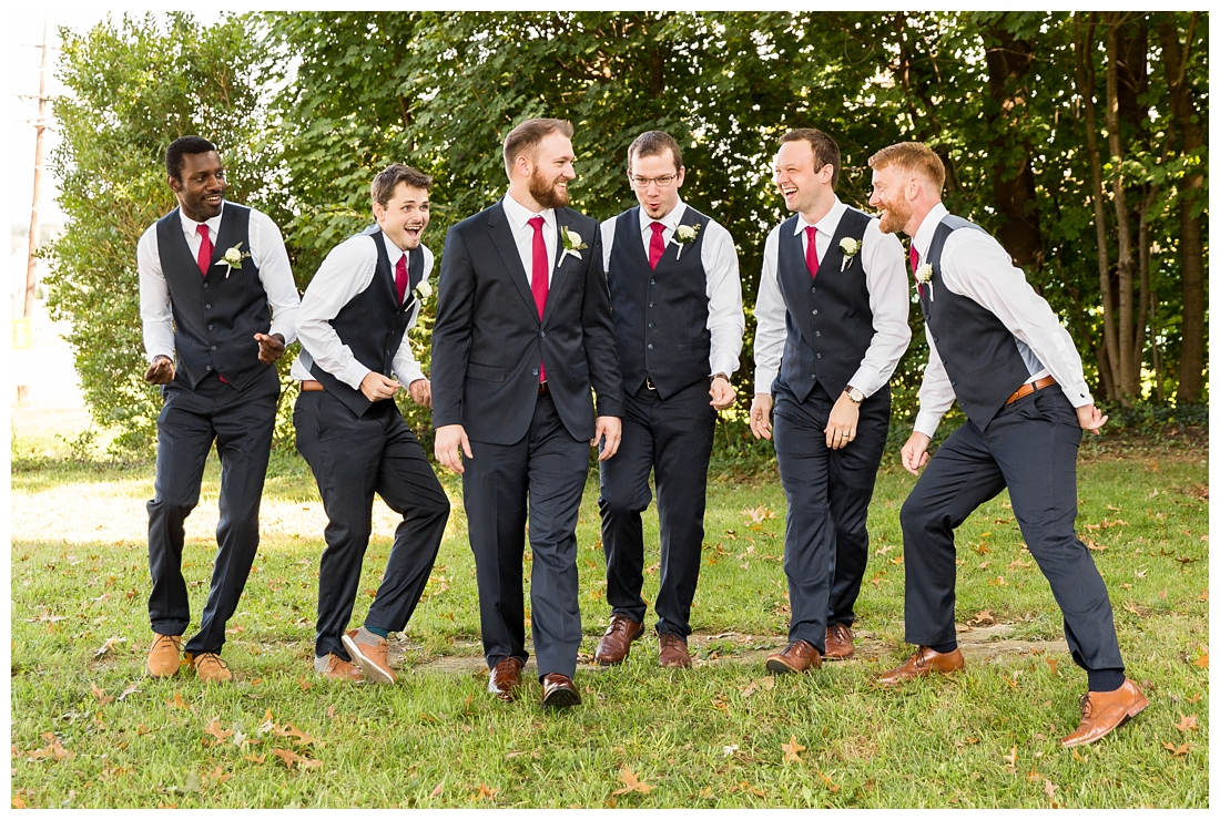 Frederick Maryland McClintlock Distillery Wedding. Frederick Wedding. Distillery Wedding. Cottage getting ready. Air bnb wedding day. Burgundy and Navy wedding color scheme. Groomsmen portraits.