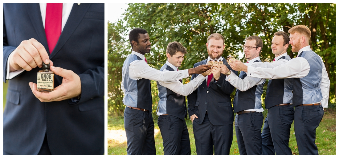 Frederick Maryland McClintlock Distillery Wedding. Frederick Wedding. Distillery Wedding. Cottage getting ready. Air bnb wedding day. Burgundy and Navy wedding color scheme. Groomsmen portraits. Groom and groomsmen taking a shot of whiskey. Knob creek.