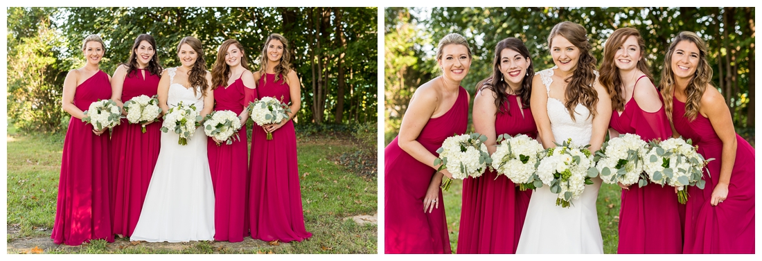Frederick Maryland McClintlock Distillery Wedding. Frederick Wedding. Distillery Wedding. Cottage getting ready. Air bnb wedding day. Burgundy and Navy wedding color scheme. Bridesmaid portraits.