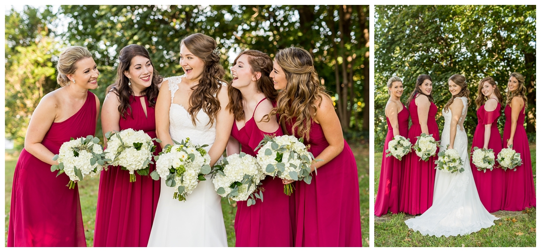 Frederick Maryland McClintlock Distillery Wedding. Frederick Wedding. Distillery Wedding. Cottage getting ready. Air bnb wedding day. Burgundy and Navy wedding color scheme. bridesmaid portraits
