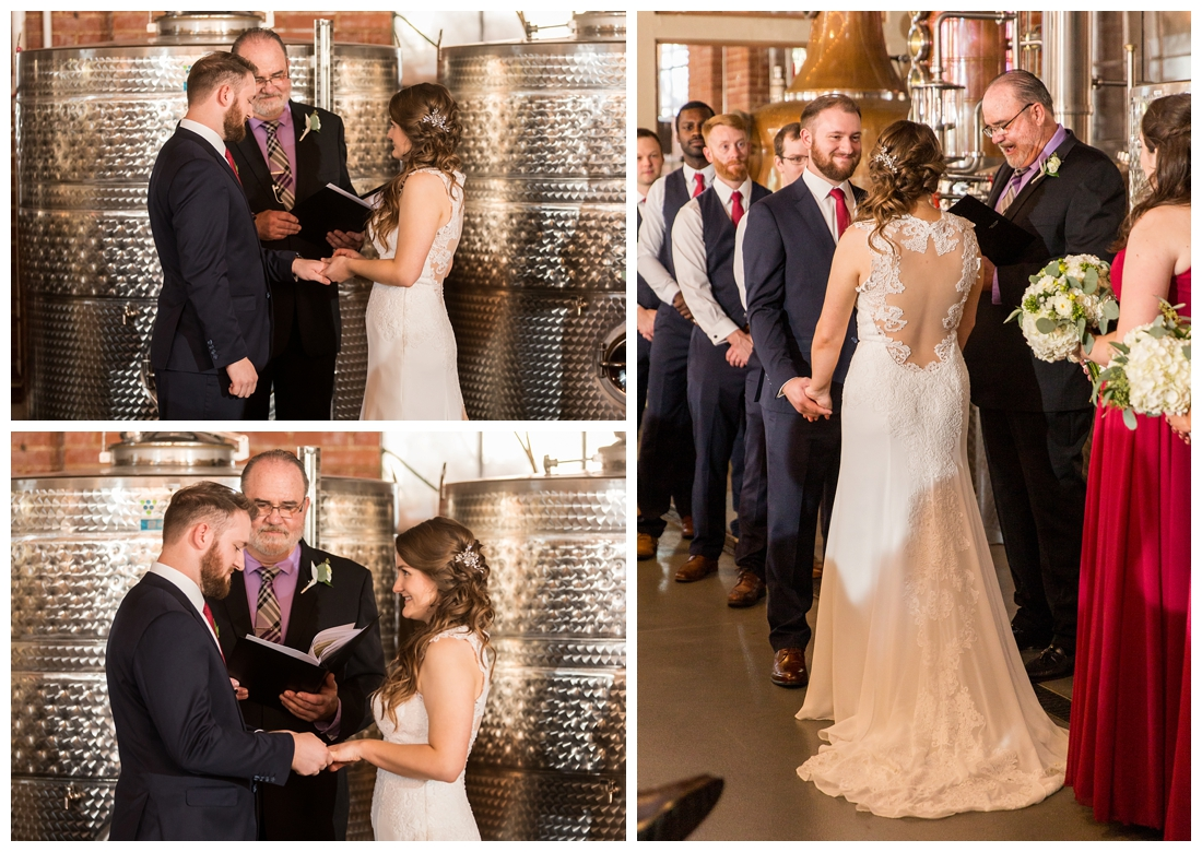 Frederick Maryland McClintlock Distillery Wedding. Frederick Wedding. Distillery Wedding. Cottage getting ready. Air bnb wedding day. Burgundy and Navy wedding color scheme. Distilling distillery ceremony wedding.