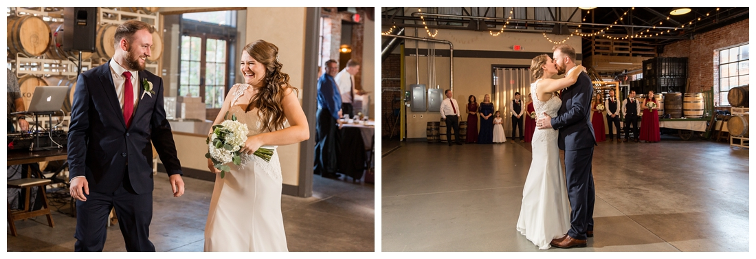 Frederick Maryland McClintlock Distillery Wedding. Frederick Wedding. Distillery Wedding. Cottage getting ready. Air bnb wedding day. Burgundy and Navy wedding color scheme. bride and groom share their first dance