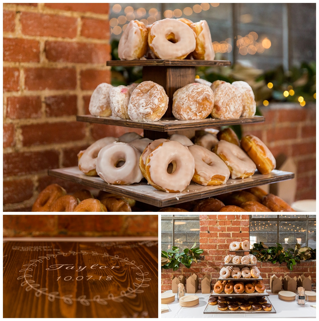 Frederick Maryland McClintlock Distillery Wedding. Frederick Wedding. Distillery Wedding. Cottage getting ready. Air bnb wedding day. Burgundy and Navy wedding color scheme. guest book wood slab donut tower donut smashing