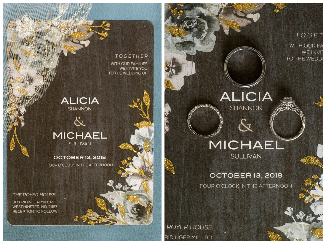 Fall wedding at The Royer House in Westminster Maryland. Cool fall day with dusty blue theme. Carroll County wedding. Cold Wedding day. Windy Wedding. Farm Wedding.  wedding invitation. Wedding rings on invitation