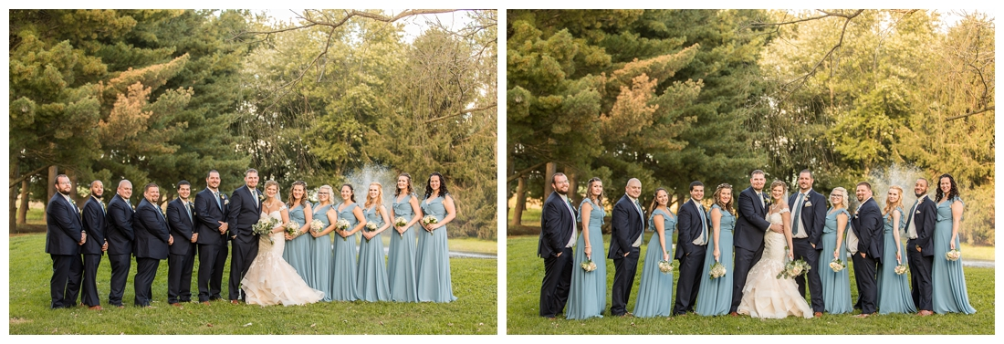 Fall wedding at The Royer House in Westminster Maryland. Cool fall day with dusty blue theme. Carroll County wedding. Cold Wedding day. Windy Wedding. Farm Wedding.  bridal party photos