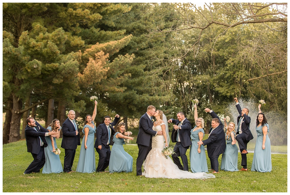 Fall wedding at The Royer House in Westminster Maryland. Cool fall day with dusty blue theme. Carroll County wedding. Cold Wedding day. Windy Wedding. Farm Wedding.  bridal party celebration photos