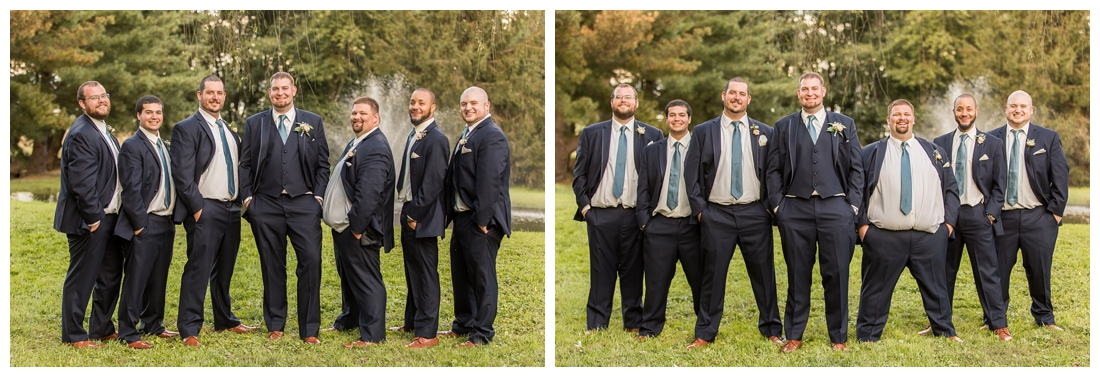 Fall wedding at The Royer House in Westminster Maryland. Cool fall day with dusty blue theme. Carroll County wedding. Cold Wedding day. Windy Wedding. Farm Wedding.  groom and groomsmen photos