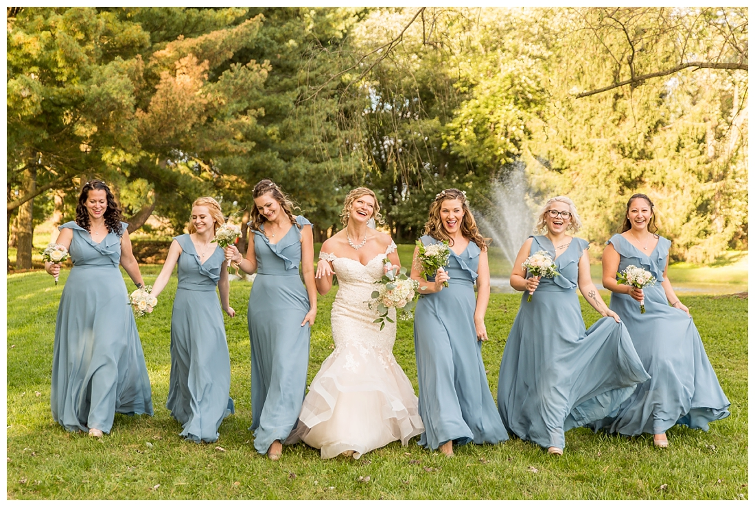 Fall wedding at The Royer House in Westminster Maryland. Cool fall day with dusty blue theme. Carroll County wedding. Cold Wedding day. Windy Wedding. Farm Wedding. bride and bridesmaid photos
