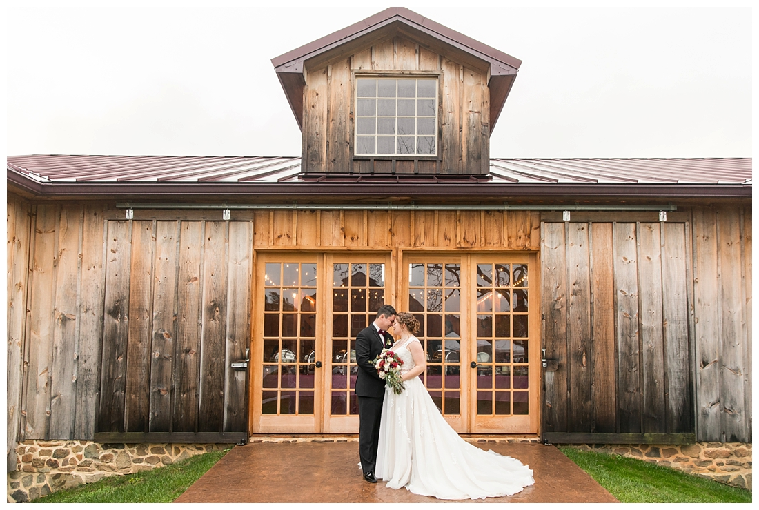 Vineyards of Marys Meadow Wedding in Darlington Maryland. Rainy fall wedding. Cold wedding day. Rainy wedding day. maryland wedding photographer. Barn wedding. Farm Wedding. Bride and groom portraits with the barn