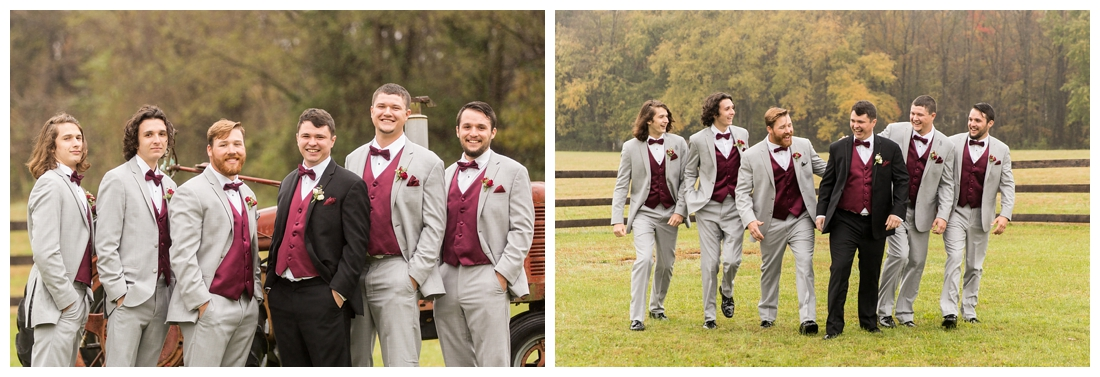 Vineyards of Marys Meadow Wedding in Darlington Maryland. Rainy fall wedding. Cold wedding day. Rainy wedding day. maryland wedding photographer. Barn wedding. Farm Wedding. groomsmen portraits