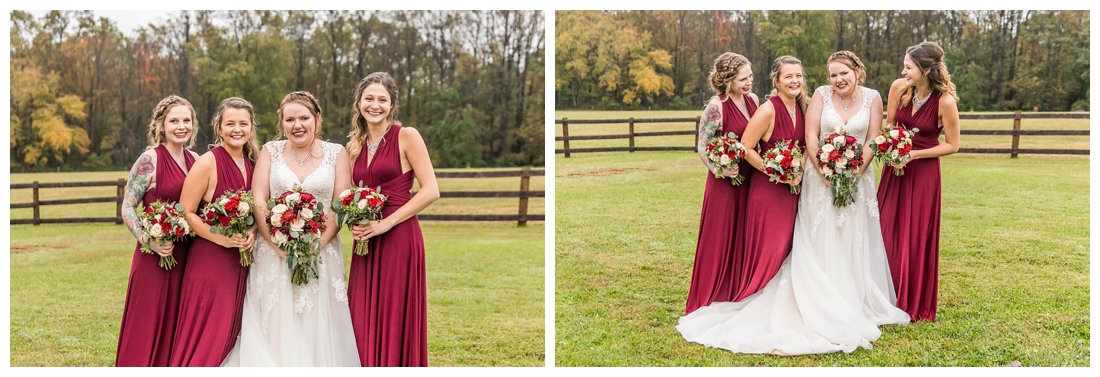 Vineyards of Marys Meadow Wedding in Darlington Maryland. Rainy fall wedding. Cold wedding day. Rainy wedding day. maryland wedding photographer. Barn wedding. Farm Wedding. bridesmaid portraits