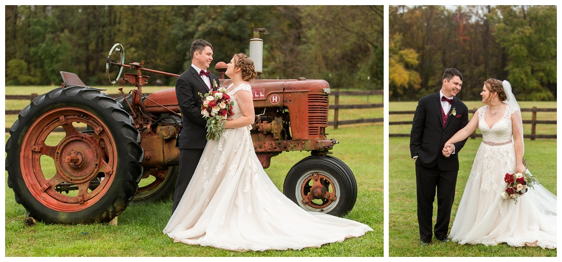 Vineyards of Marys Meadow Wedding in Darlington Maryland. Rainy fall wedding. Cold wedding day. Rainy wedding day. maryland wedding photographer. Barn wedding. Farm Wedding. bride and groom newlywed photos with tractor.